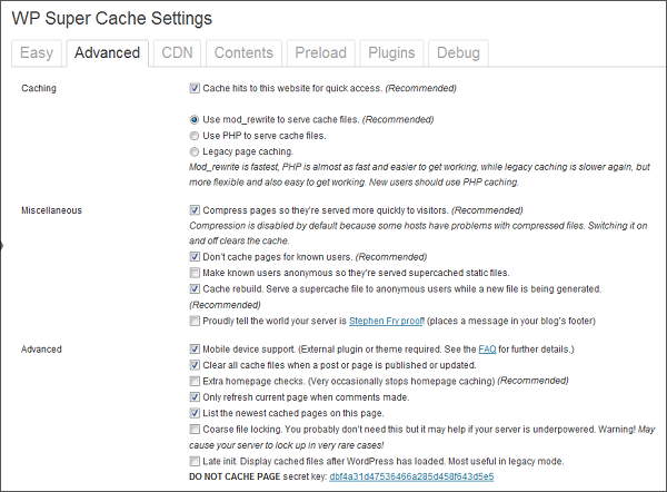 WP Super Cache Settings Advanced - How To Install and Setup WP Super Cache WordPress Plugin